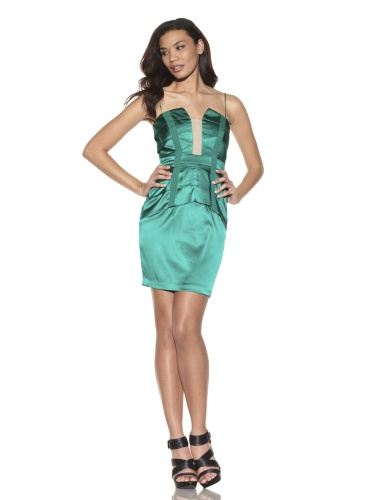 Foley + Corinna Women's 2-Piece Stretch Corset Top and Skirt Set (Emerald)