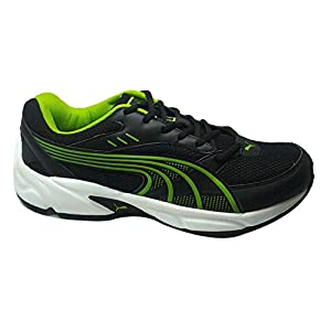 Puma Men's Atom DP Black and Macaw Green Boat Shoes