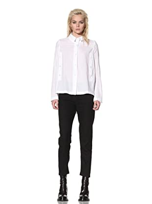 Ann Demeulemeester Women's Button-Front Shirt with Back Tie (White)