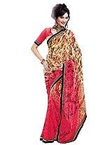 Riti Riwaz Beige & pink saree with unstitched blouse RVL347B