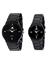 IIK Collection Pair of Round Black Dial & Black Chain Men's Watch, Black Dial & Black Chain Women's Watch IIk034M-1034W