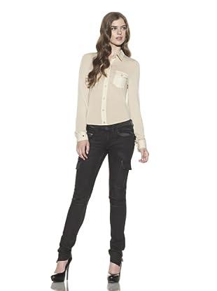 Rockstar Denim Women's Pigment-Dyed Cargo Jean (Black)