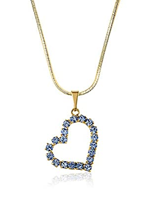 Philippa Collar Large Strass Heart metal bañado en oro 24 ct