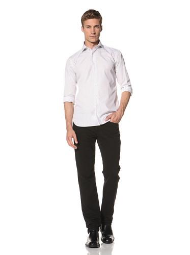 Orian Men's Micro Flower Print Shirt (White)