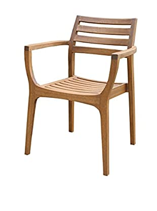 Outdoor Interiors Set of 4 Eucalyptus Danish Stacking Arm Chairs, Brown