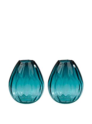 Artistic Set of 2 Aqua Ombré Vases