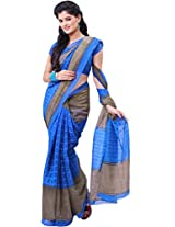 Pagli Blue With Grey Colour Printed Soft Cotton Saree.
