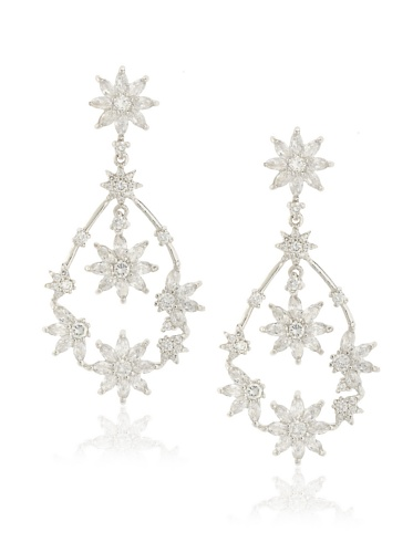 CZ by Kenneth Jay Lane Floral Drop Earrings