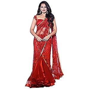 Sonakshi sinha bollywood replica net red saree im0d