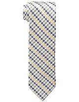 Haggar Men's Check Linen Tie, Navy, One Size
