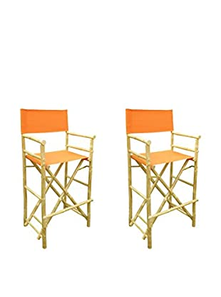 ZEW, Inc. Set of 2 Bamboo High Director Chairs, Pottery