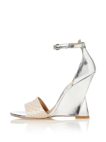 Sigerson Morrison Women's Dali Ankle-Strap Wedge Sandal (Silver/Dove)