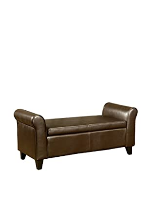 Abbyson Living Terna Nely Bonded Leather Storage Ottoman Bench, Dark Brown