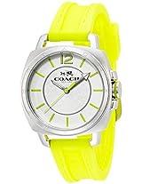 Coach Womens 14502132 Boyfriend Yellow Silicon Rubber Strap Watch 34Mm - W1362 Bix Wmn
