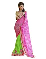 Bahubali Womens Half traditional laheria and half patch work along with heavy fancy lace and fancy blouse(85606_Light Pink and Parrot Colour Saree)