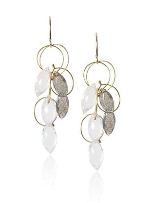 Misha Pink Quartz & Labrodorite Large Dangle Earrings