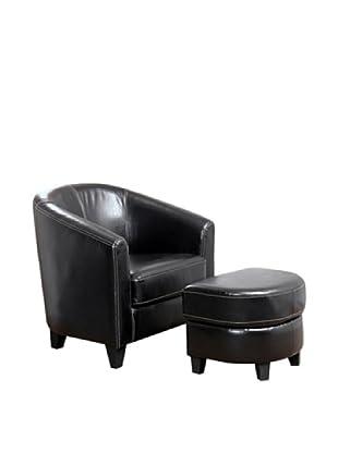 Abbyson Living Oceanview Armchair and Ottoman Set, Dark Truffle