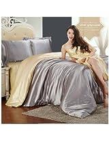 4pcs Suit Pure Color Silk Floss Bedding Set King Size Duvet Cover