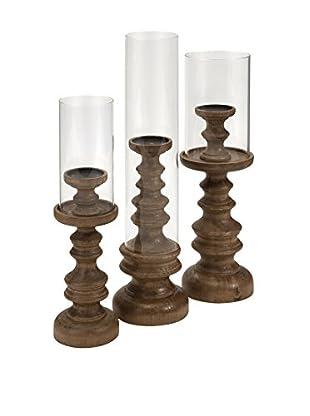 Set of 3 Bailey Wood Candleholders