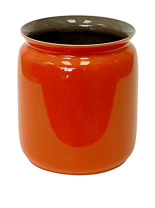 Middle Kingdom Porcelain Scholar Vase, Spice Green/Coral Red