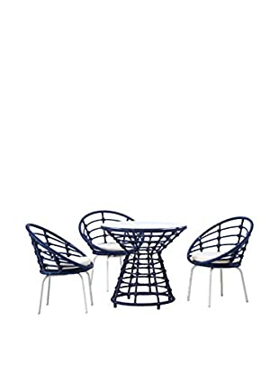 Ceets Echo 4-Piece Outdoor Dining Set, Blue/White