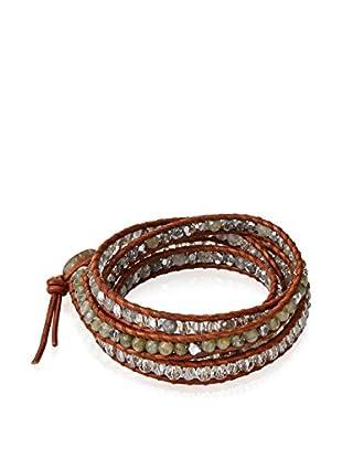 Chan Luu Labradorite Mix & Natural Brown Wrap Bracelet