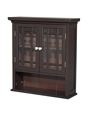Elegant Home Fashions Neal Double Door Wall Cabinet with Shelf, Dark Espresso