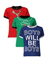 Goodway Junior Boys Colour Style-1 Theme Combo Pack of 3 T-Shirts - 2-3 Years