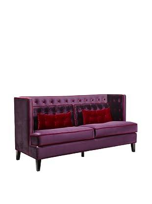 Armen Living Moulin Velvet Loveseat, Purple/Red