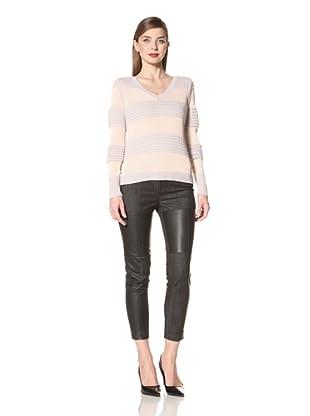 Cut25 Women's Striped V-Neck Sweater (Buff/Fog)