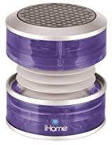 iHome Rechargeable Mini Portable Speaker, with Vacuum Bass Speaker Technology, and USB Plug for Charging Speaker and Audio Plugs for Connecting to Audio Source, Collapsible Design for Ultimate Portability, Power and Charging LED Indicators, Purple Translucent Finish