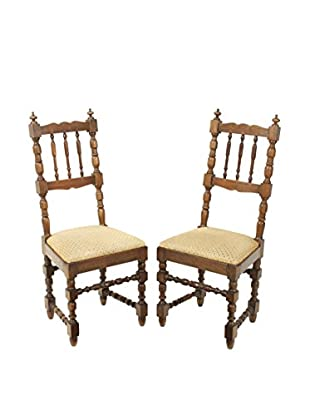 Pair of French Farm Chairs, Brown/Tan