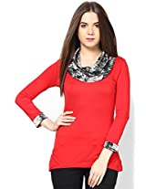 Red Black Formal Cowl Neck Top _FTK23-RDBLGRY-12
