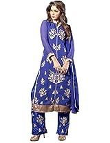 Blue Colour Foux Georgette Party Wear Floral Zari Embroidery Pant Style Suit 1005