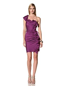 Catherine Malandrino Women's Asymmetrical Ruched Shoulder Dress (New Amethyst)