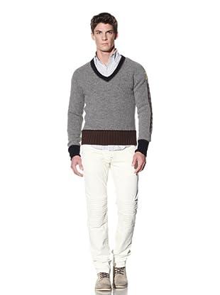 GANT by Michael Bastian Men's Jacob's Ladder V-Neck Sweater (Dark Grey Melange)