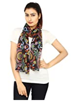 Anekaant Black Printed Cotton Women's Scarf