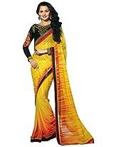 Chirag Saree Women Faux Georgette Zari Saree (Tfh11006 _Yellow & Red _Free Size)