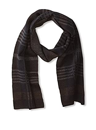 Andrew Noble Men's Plaid Scarf (Navy/Brown)