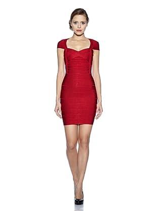 Corizzi & Absolu Vestido Bandas Realza Silueta Escote Corazón (Rojo)