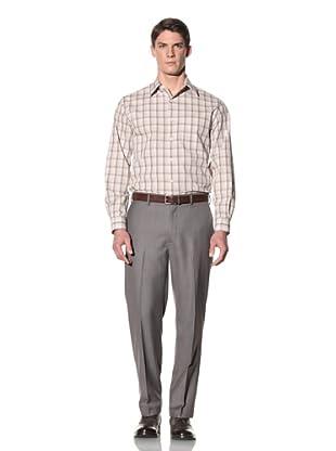 Perry Ellis Men's Slim Fit Box Check Shirt (Sandbar)