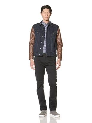 Just a Cheap Shirt Men's Denim Varsity Jacket (Dark Brown)