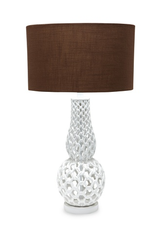 A&F Lighting Horizon Series Chain Link Table Lamp, White