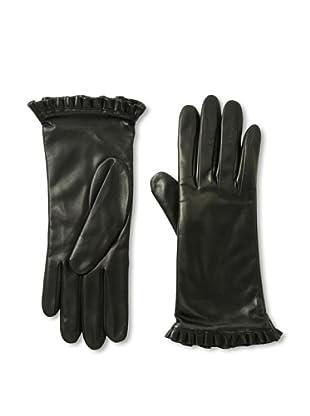 Portolano Women's Ruffle Cuff Leather Gloves (Black)