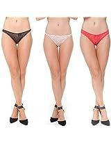 Sheer Thongs with Self Patterns (Set of 3)