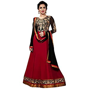 Neha Sharma Long Floor length Red & Black Georgette Top With Santoon Bottom & Chiffon Dupatta Resham & Zari Embroidery Work Anarkali Salwar Suit