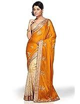 Utsav Fashion Women's Golden Orange and Beige Faux Satin Chiffon and Net Saree with Blouse