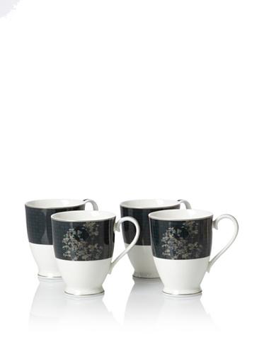 Noritake Set of 4 Everyday Elegance Verdena Mugs, Platinum, 13-Oz.