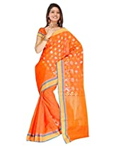 Sehgall Sarees Professionally Designed Indian Bollywood Ethnic Jain Silk with Jari Woven Sarees Rust