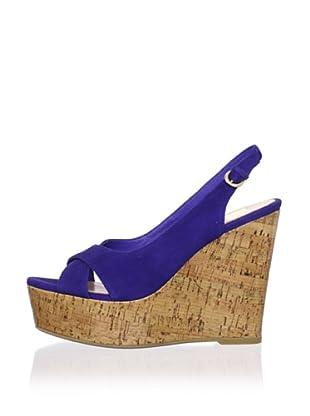 Dolce Vita Women's Jill Wedge Sandal (Blue Suede)